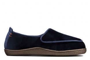 Clarks Womens Home Charm Navy Slippers